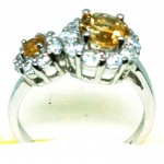 Citrine zircon ring